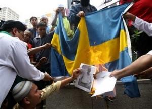 Moslems verbrennen die schwedische Flagge